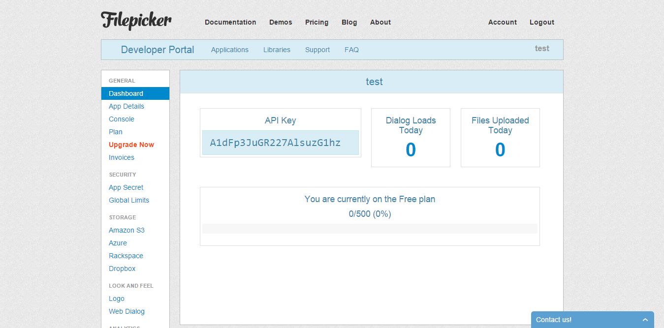 Filepicker App API Key