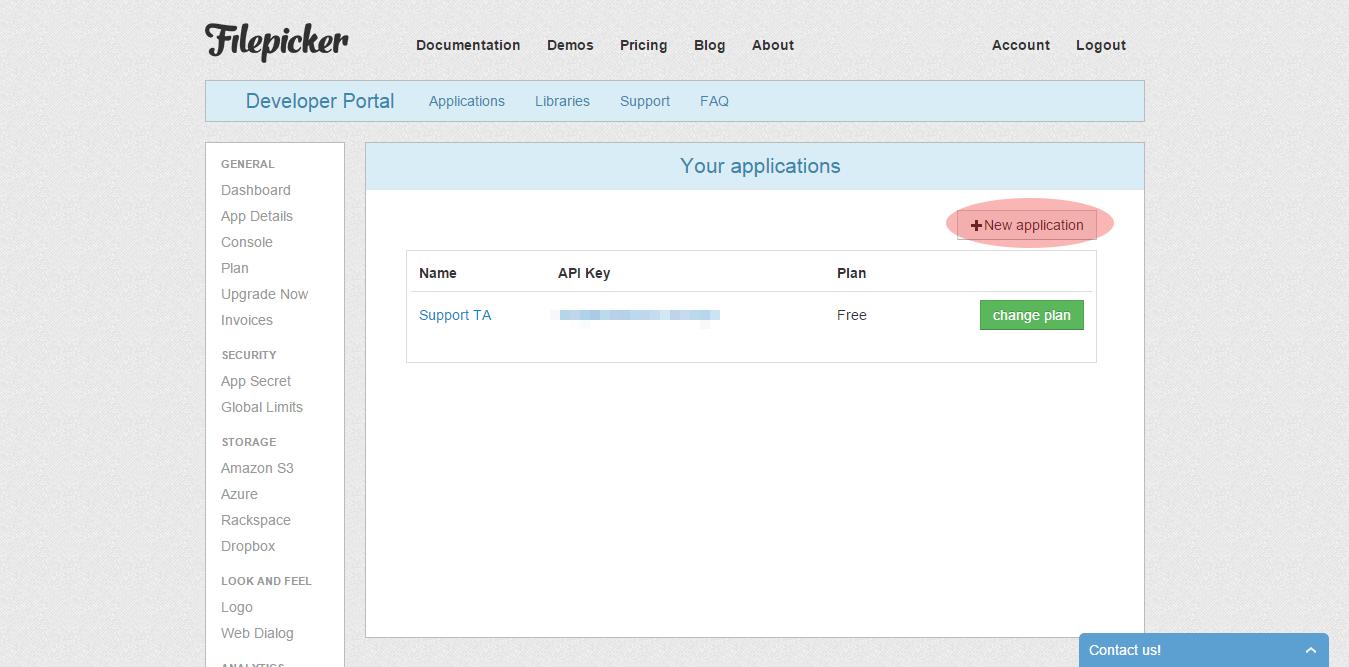 Create an app in Filepicker