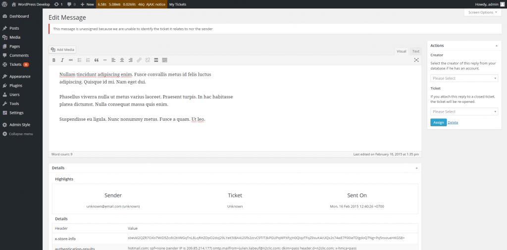 Unassigned Reply Update Screen